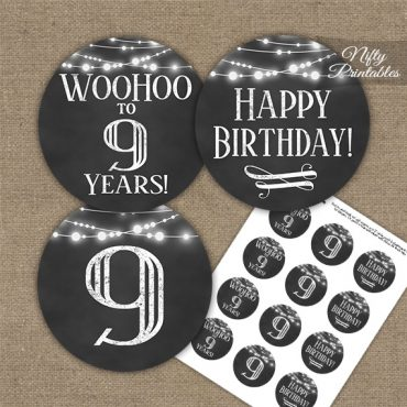 9th Birthday Cupcake Toppers - Chalkboard Lights