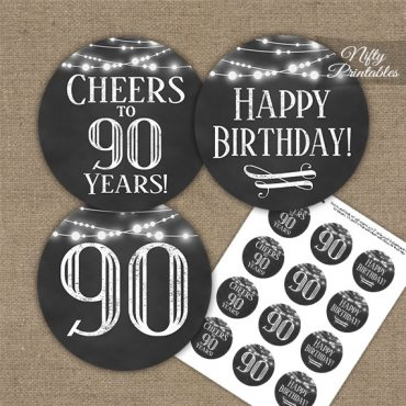 90th Birthday Cupcake Toppers - Chalkboard Lights
