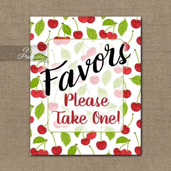 Favors Sign - Cherries