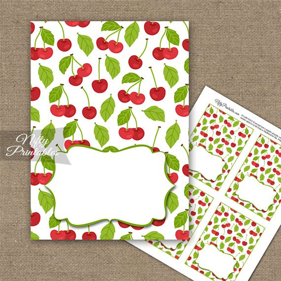 Buffet Tent Cards - Place Cards - Cherries