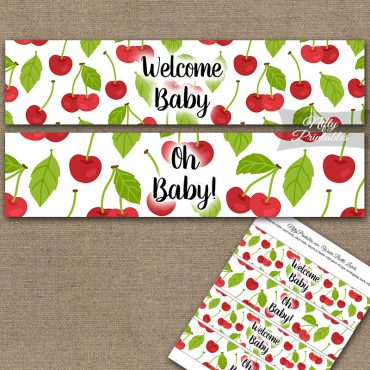 Baby Shower Water Bottle Labels - Cherries