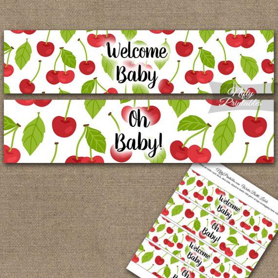 Baby Shower Water Bottle Labels - Cherries