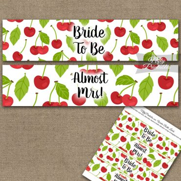 Bridal Shower Water Bottle Labels - Cherries