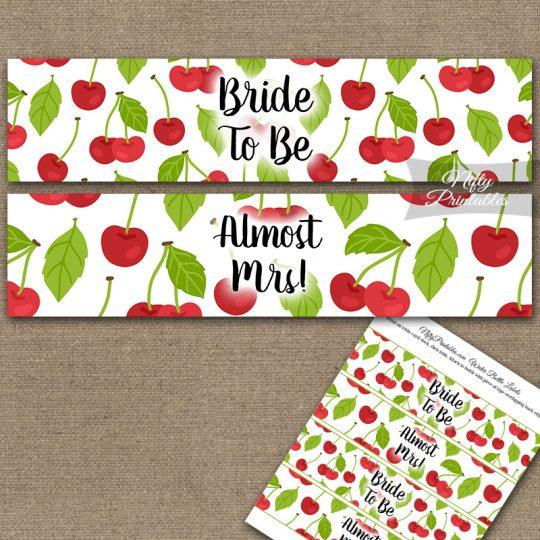 Bridal Shower Water Bottle Labels - Cherries