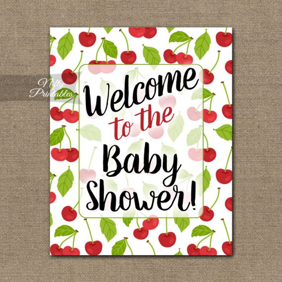 Baby Shower Welcome Sign - Cherries