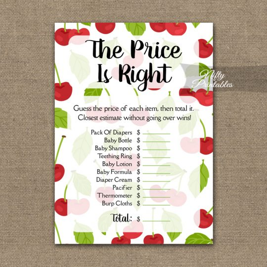 Price Is Right Baby Shower Game - Cherries