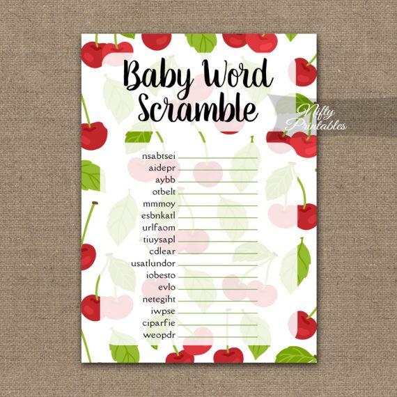 Baby Shower Word Scramble Game - Cherries