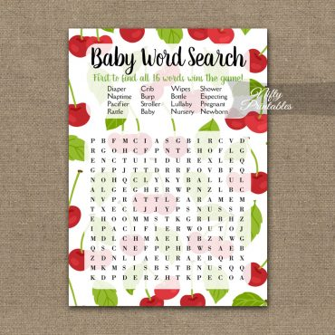 Baby Shower Word Search Game - Cherries