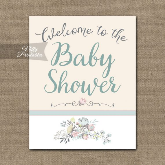 Baby Shower Welcome Sign - Floral Bouquet