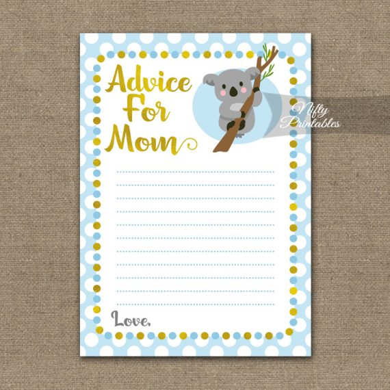 Advice For Mommy Baby Shower Game - Koala Blue Gold