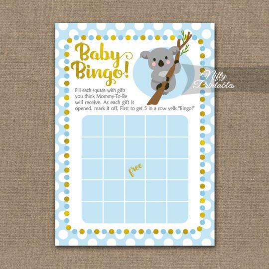 Baby Shower Bingo Game - Koala Blue Gold