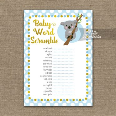 Baby Shower Word Scramble Game - Koala Blue Gold