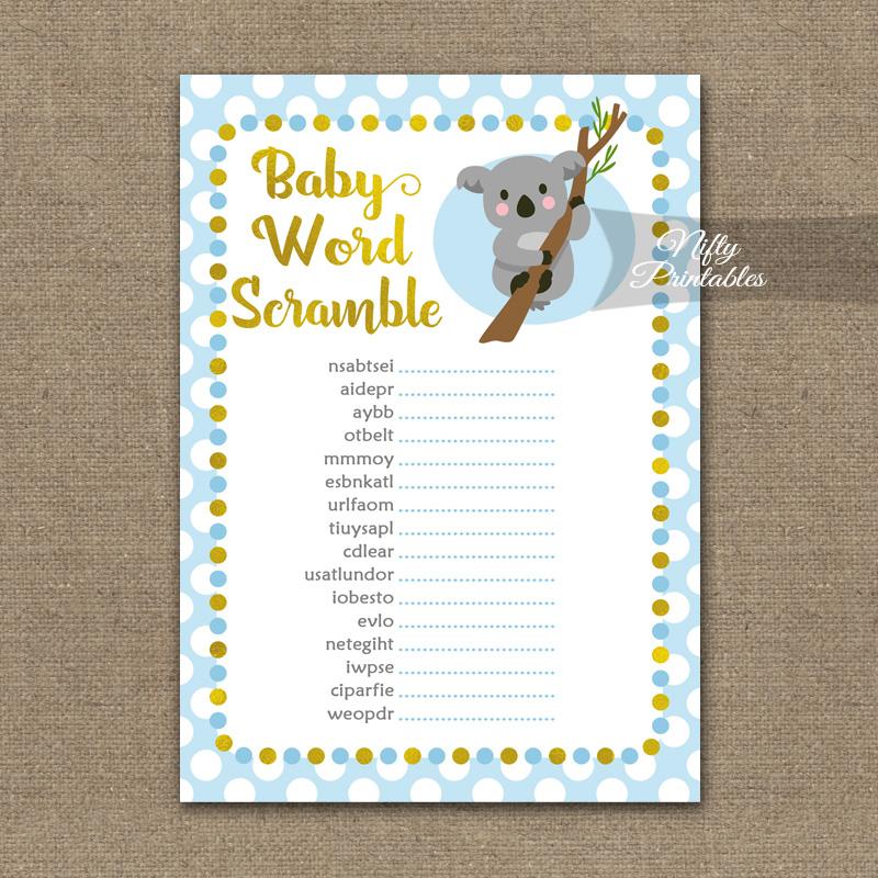 Baby Shower Word Scramble Game - Koala Blue Gold