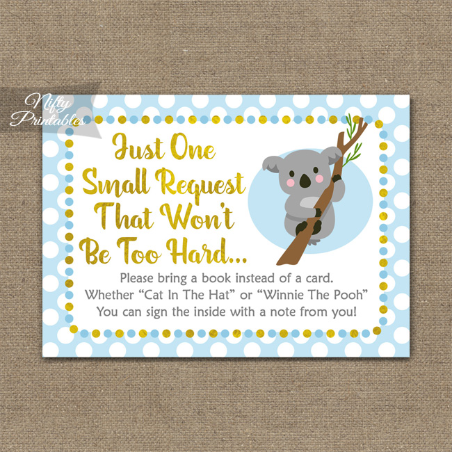 Bring A Book Baby Shower Insert - Koala Blue Gold