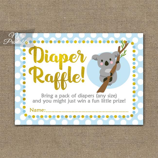 Diaper Raffle Baby Shower - Koala Blue Gold