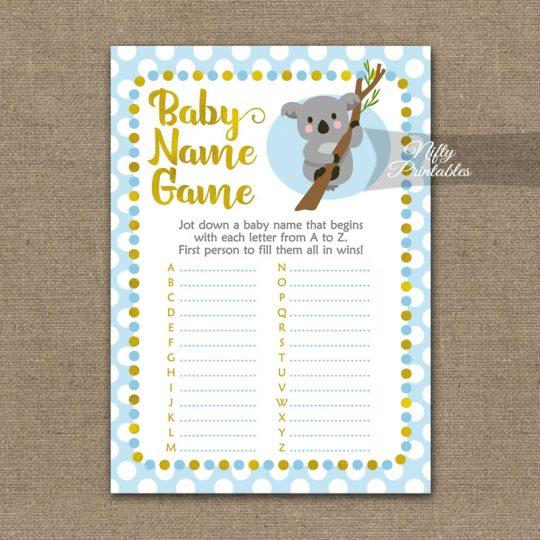 Name Game Baby Shower - Koala Blue Gold
