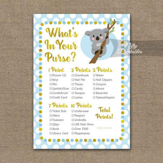 What's In Your Purse Game - Koala Blue Gold