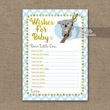 Wishes For Baby Shower Game - Koala Blue Gold