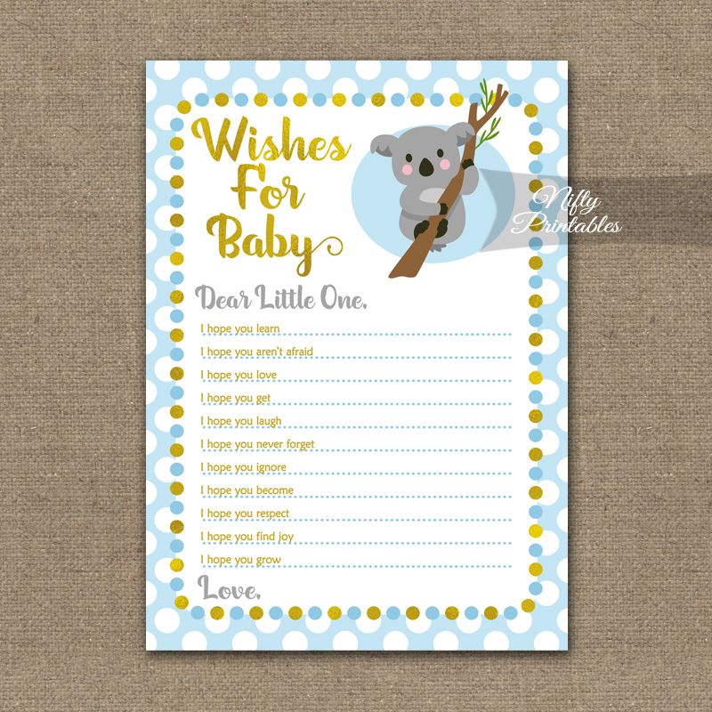 photo about Wishes for Baby Printable called Desires For Kid Shower Video game - Koala Blue Gold