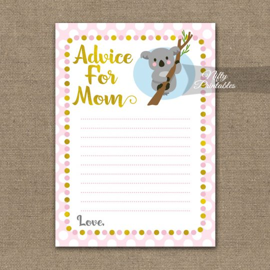 Advice For Mommy Baby Shower Game - Koala Pink Gold