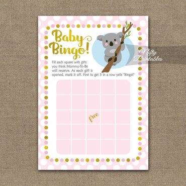 Baby Shower Bingo Game - Koala Pink Gold