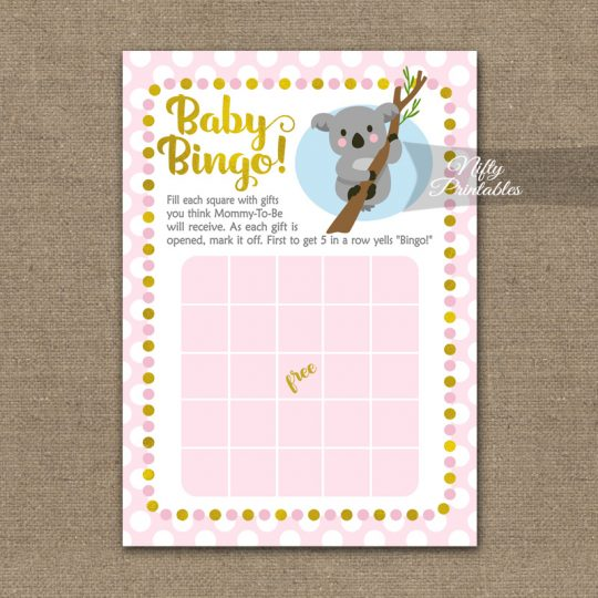 Baby Shower Bingo Game - Koala Pink Gold
