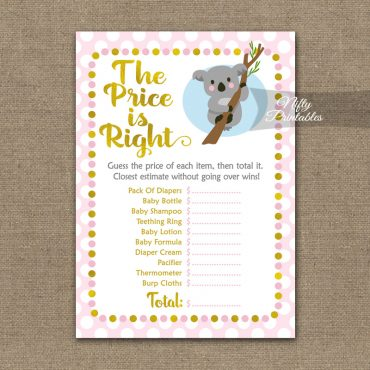 Price Is Right Baby Shower Game - Koala Pink Gold