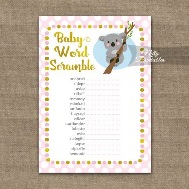 Baby Shower Word Scramble Game - Koala Pink Gold