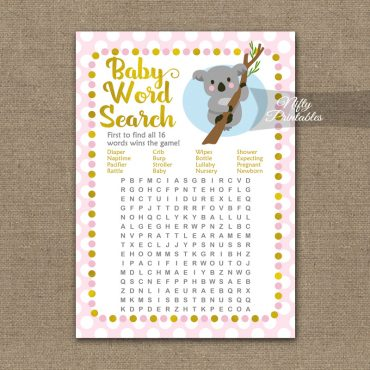 Baby Shower Word Search Game - Koala Pink Gold