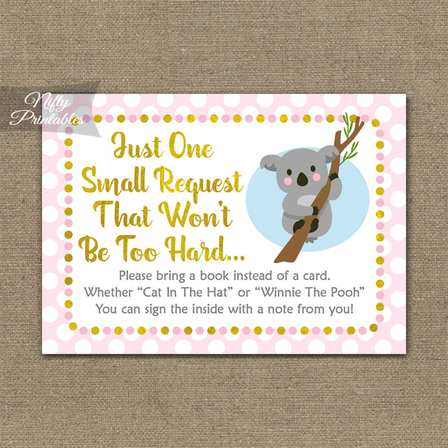 Bring A Book Baby Shower Insert - Koala Pink Gold