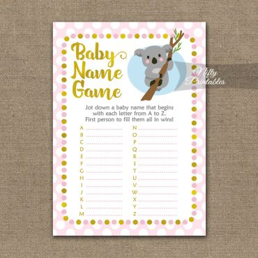 Name Game Baby Shower - Koala Pink Gold