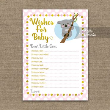 Wishes For Baby Shower Game - Koala Pink Gold