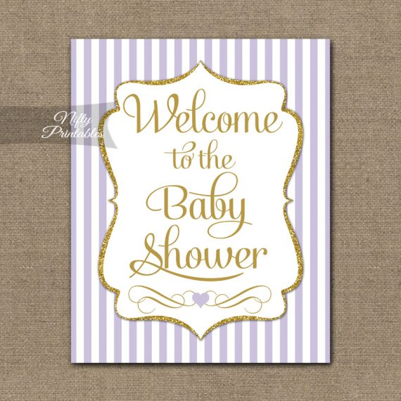 Baby Shower Welcome Sign - Lilac Gold Glitter Stripe
