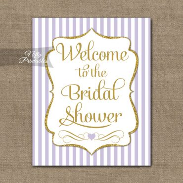 Bridal Shower Welcome Sign - Lilac Gold Glitter Stripe