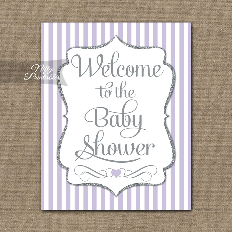 Baby Shower Welcome Sign - Lilac Silver Glitter Stripe