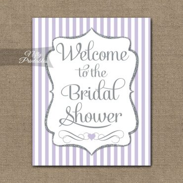Bridal Shower Welcome Sign - Lilac Silver Glitter Stripe