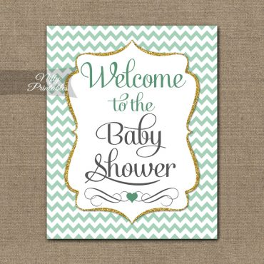 Baby Shower Welcome Sign - Mint Gold Chevron