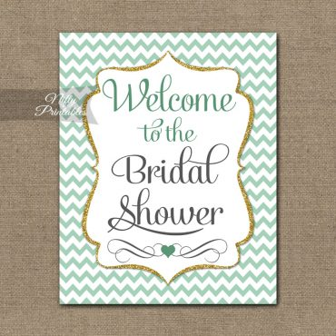 Bridal Shower Welcome Sign - Mint Gold Chevron