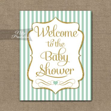 Baby Shower Welcome Sign - Mint Gold Glitter Stripe