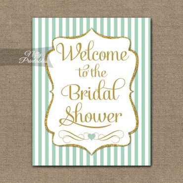 Bridal Shower Welcome Sign - Mint Gold Glitter Stripe