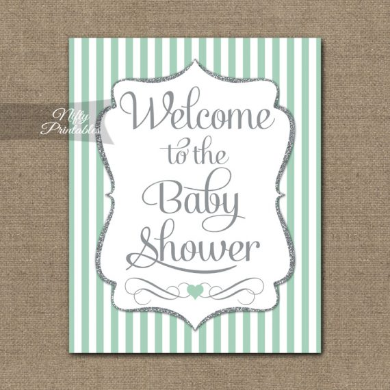 Baby Shower Welcome Sign - Mint Silver Glitter Stripe