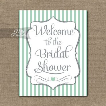 Bridal Shower Welcome Sign - Mint Silver Glitter Stripe