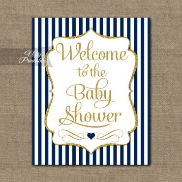 Baby Shower Welcome Sign - Navy Gold Glitter Stripe
