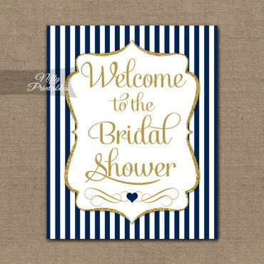 Bridal Shower Welcome Sign - Navy Gold Glitter Stripe