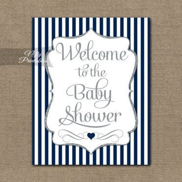 Baby Shower Welcome Sign - Navy Silver Glitter Stripe