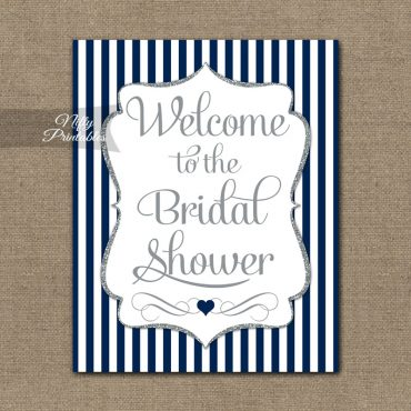 Bridal Shower Welcome Sign - Navy Silver Glitter Stripe
