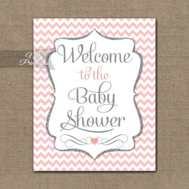 Baby Shower Welcome Sign - Pink Silver Chevron