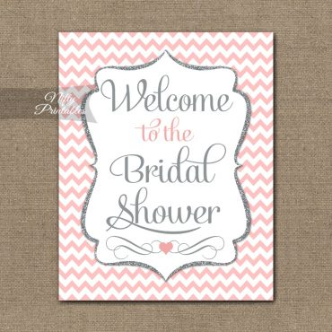 Bridal Shower Welcome Sign - Pink Silver Chevron