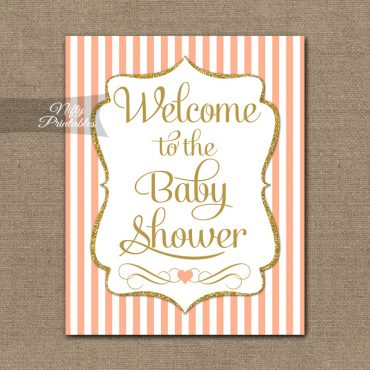 Baby Shower Welcome Sign - Peach Gold Glitter Stripe
