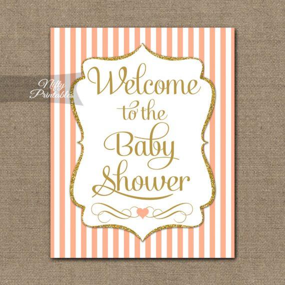 Baby Shower Welcome Sign - Peach Gold Glitter Stripe
